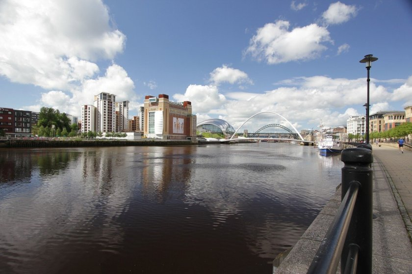 Quayside walk with views across the Tyne river.