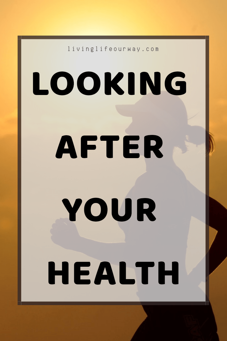 Looking After Your Health text, image of lady running