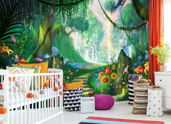 Fairytale mural in a nursery