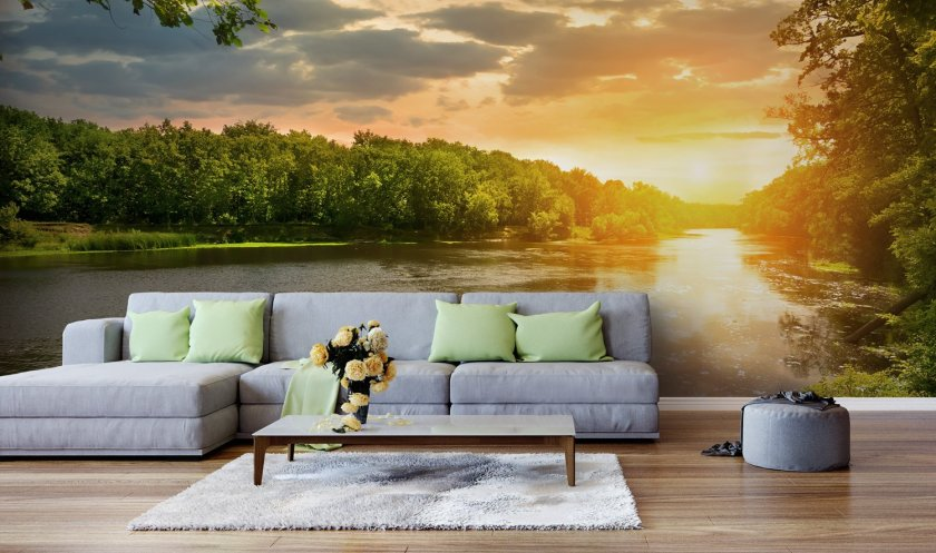 River sunset wallpaper by Wallsauce