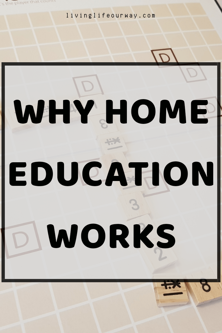 Why Home Education Works. Faded background image of a number game.