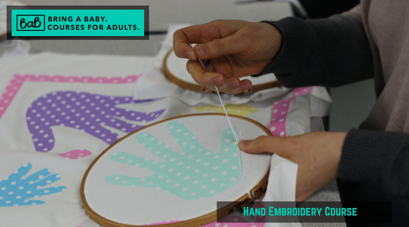 Hand embroidery course Bring A Baby course for adults