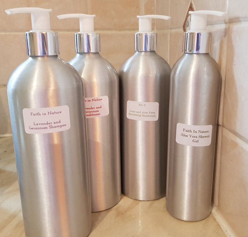 Zero waste refillable, reusable dispensers shampoo, conditioner, showel gel and handwash