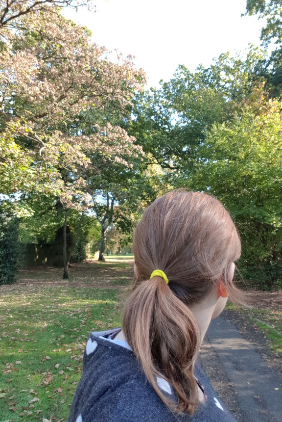 #HelloYellow hair tie selfie in nature, autumn colours