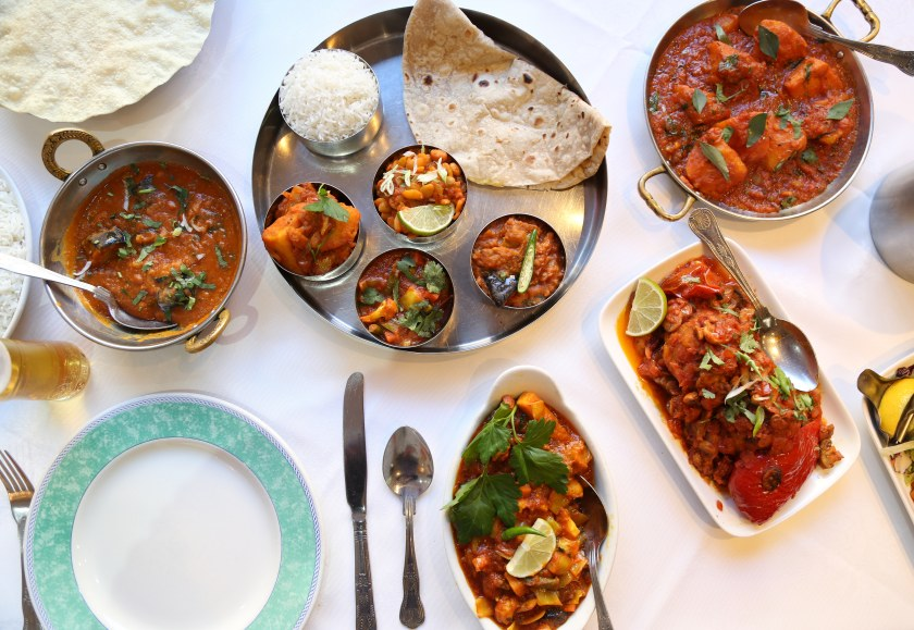 A selection of food from the vegan menu at City Spice, Brick Lane, London