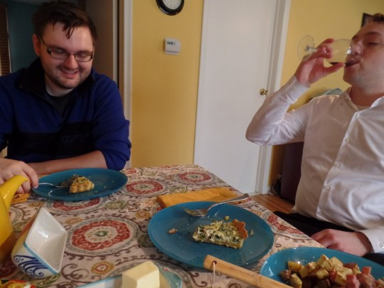 Despite being already utterly stuffed, the boys gamely accepted slices of my tart. They ate the whole thing too.
