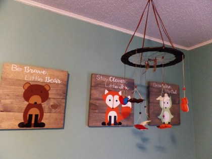 My mother-in-law got us the cute signs for our baby shower.