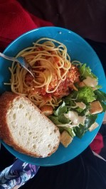 Our friend who is a chef brought us spectacular chicken parm that we lived off of for a week.