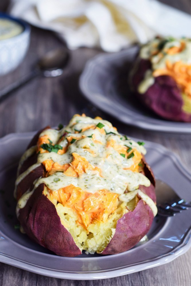 Buffalo Chicken Stuffed Yams