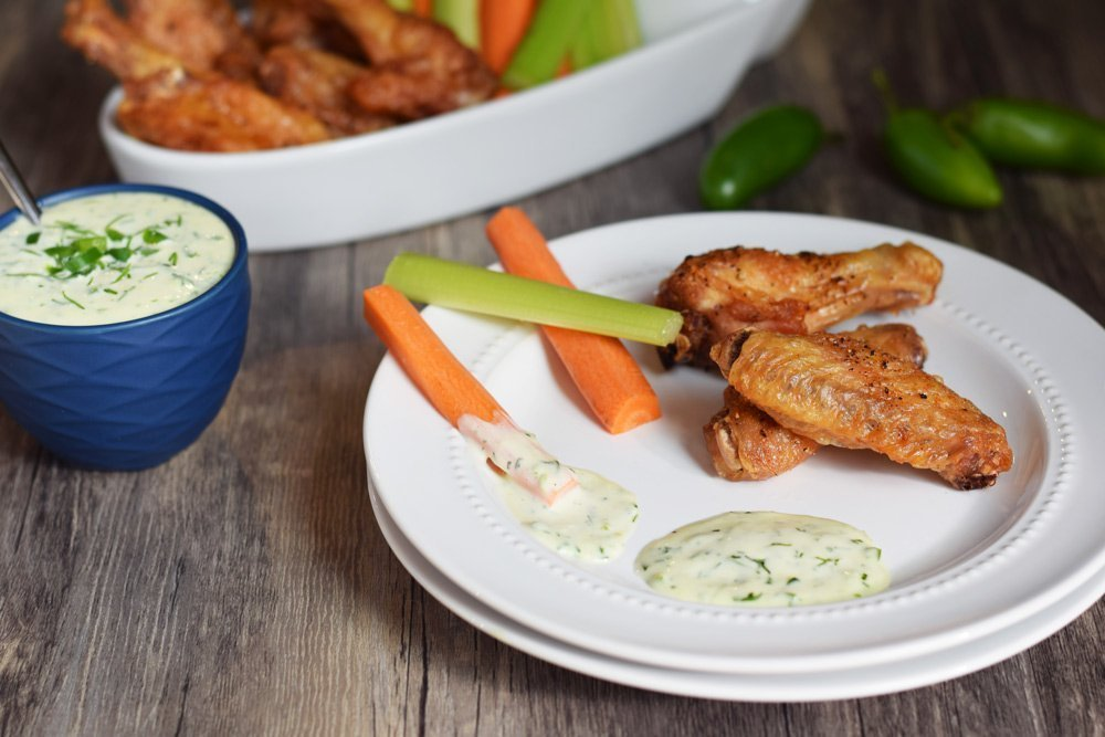 Crispy Baked Chicken Wings & Jalapeño Ranch Dressing