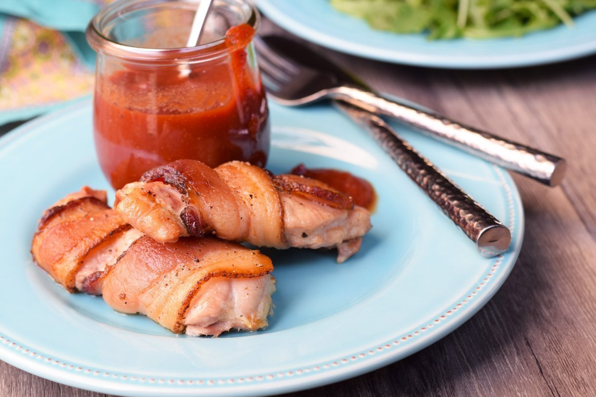 bacon wrapped chicken thighs & barbecue sauce