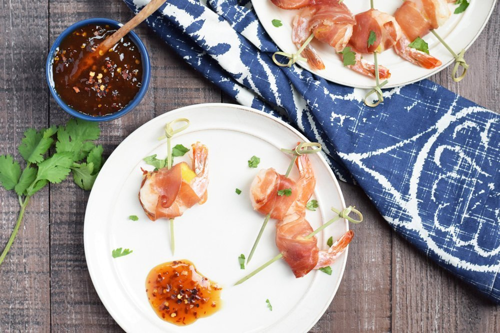 Prosciutto Wrapped Pineapple Shrimp With Sweet Chili Dipping Sauce