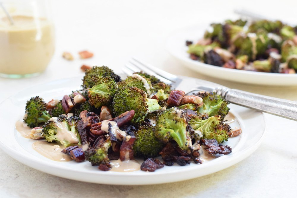 Roasted Broccoli, Bacon & Pecans with Creamy Balsamic Dressing