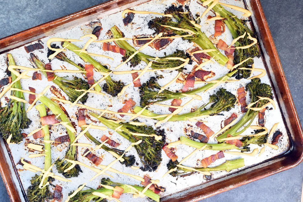 Roasted Bacon Broccolini With Cheese Sauce (paleo + dairy-free!)