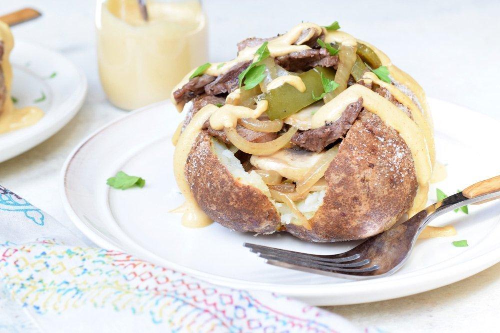 Philly Cheesesteak Stuffed Potatoes