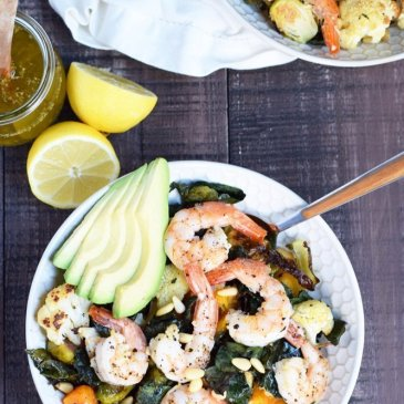 Roasted Veggie & Shrimp Salad with Lemon Vinaigrette