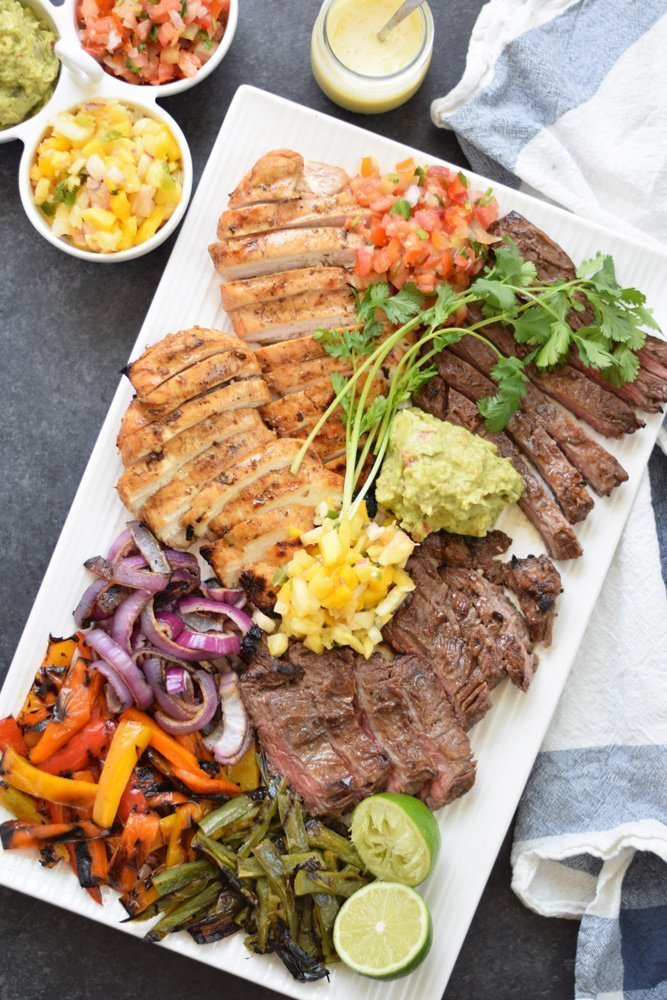 Grilled Chicken + Steak Fajitas