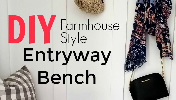 Are you looking for an easy DIY entryway bench that will save you money? I absolutely love how this turned out!! This storage bench is great for keeping coats, shoes, and anything else organized in your entryway. Come check out this DIY farmhouse style entryway bench that will fit any budget.