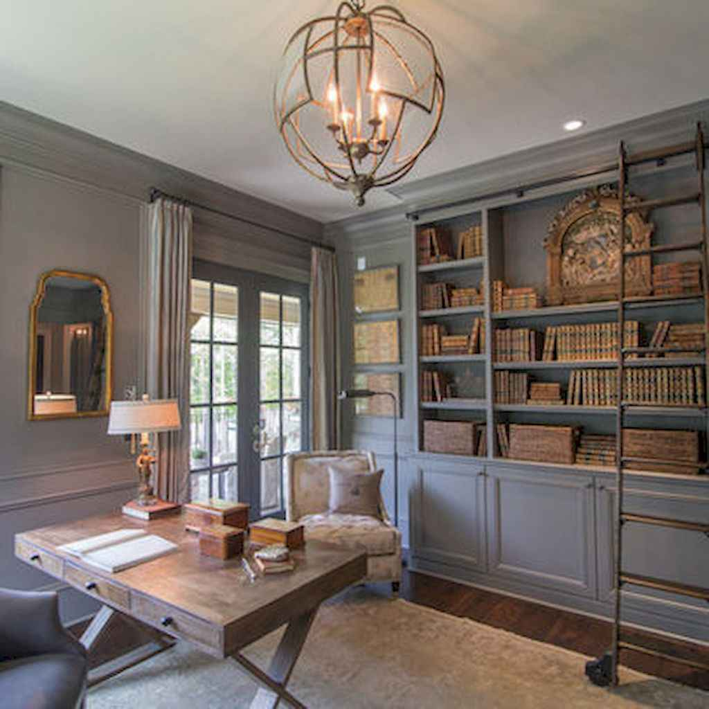 40+ stunning home libraries with rustic design (10)