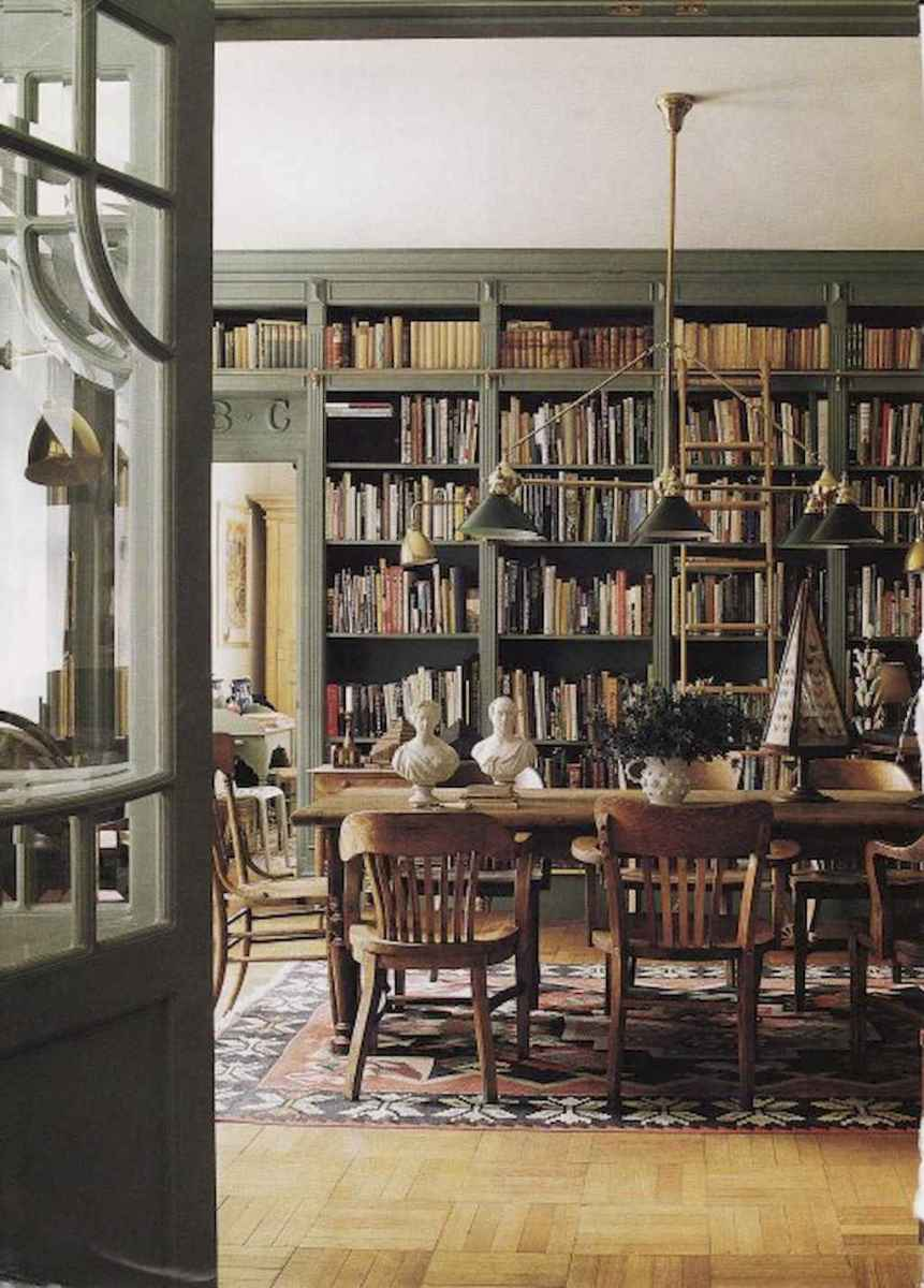 40+ stunning home libraries with rustic design (16)