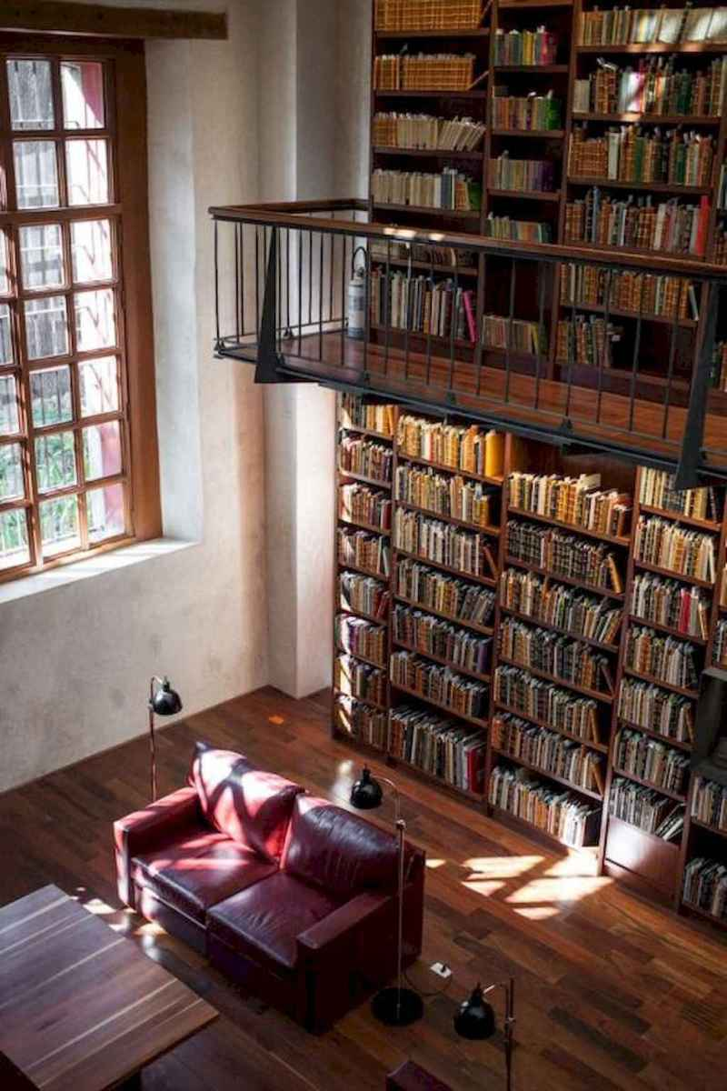 40+ stunning home libraries with rustic design (42)