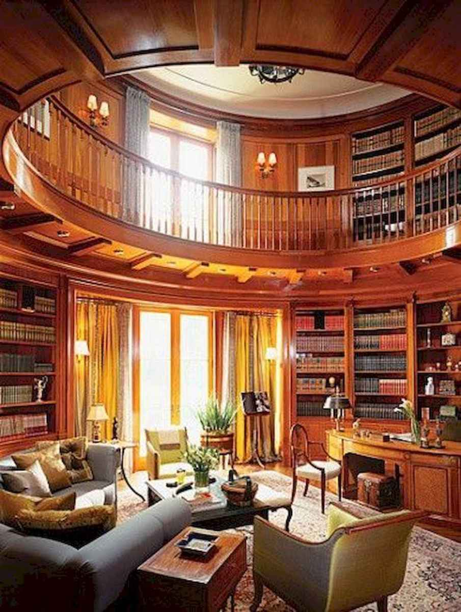 40+ stunning home libraries with rustic design (6)