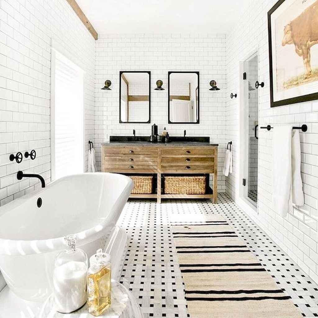 110 Best Farmhouse Bathroom Decor Ideas (150)