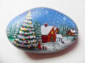 50 Creative DIY Christmas Painted Rock Design Ideas (29)