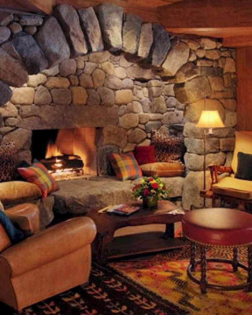 60 Awesome Log Cabin Homes Fireplace Design Ideas (1)