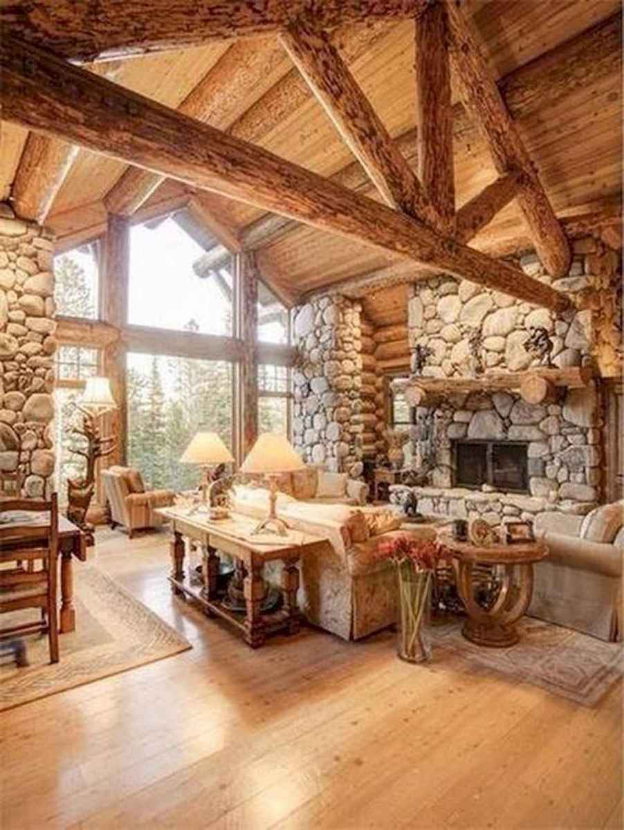 60 Awesome Log Cabin Homes Fireplace Design Ideas (2)