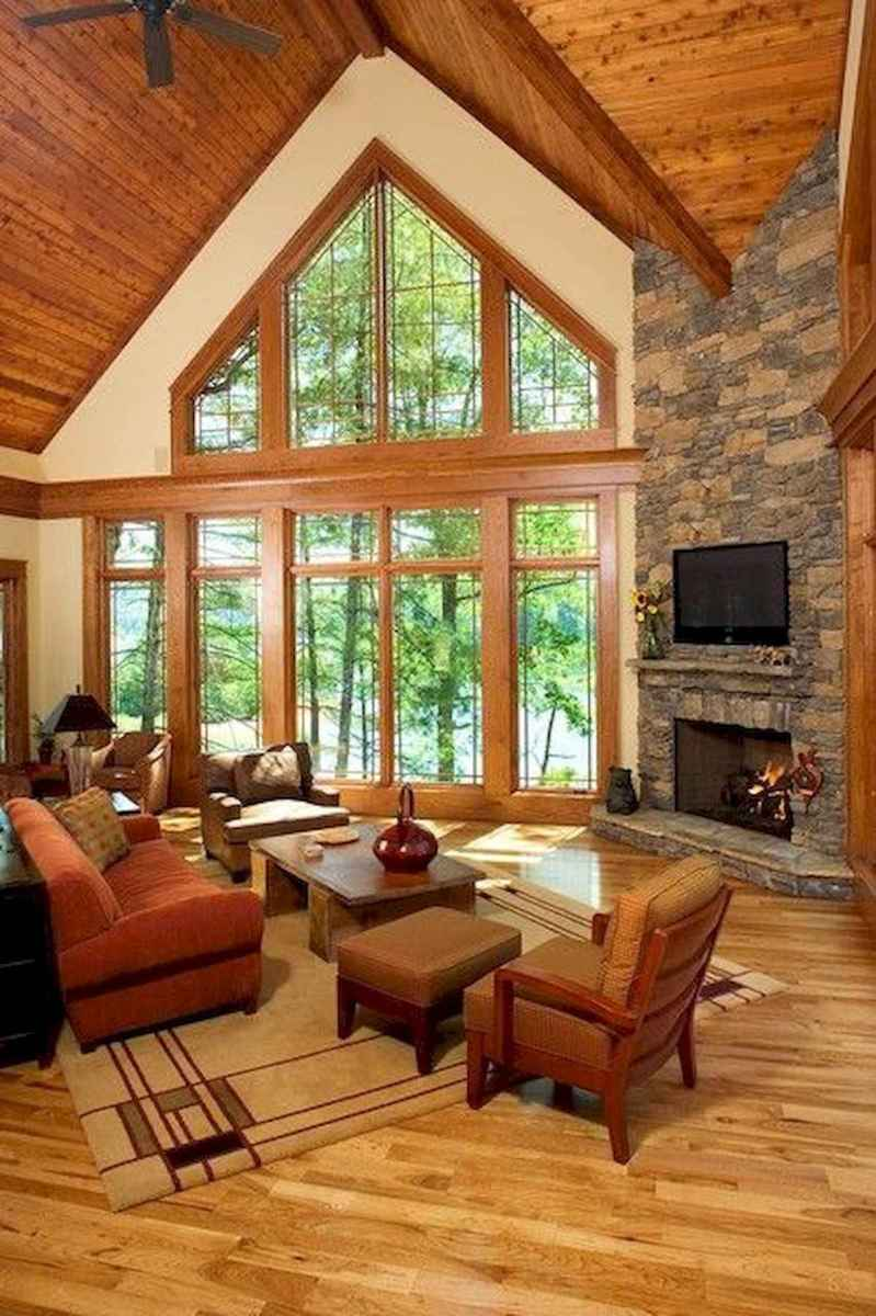 60 Awesome Log Cabin Homes Fireplace Design Ideas (21)