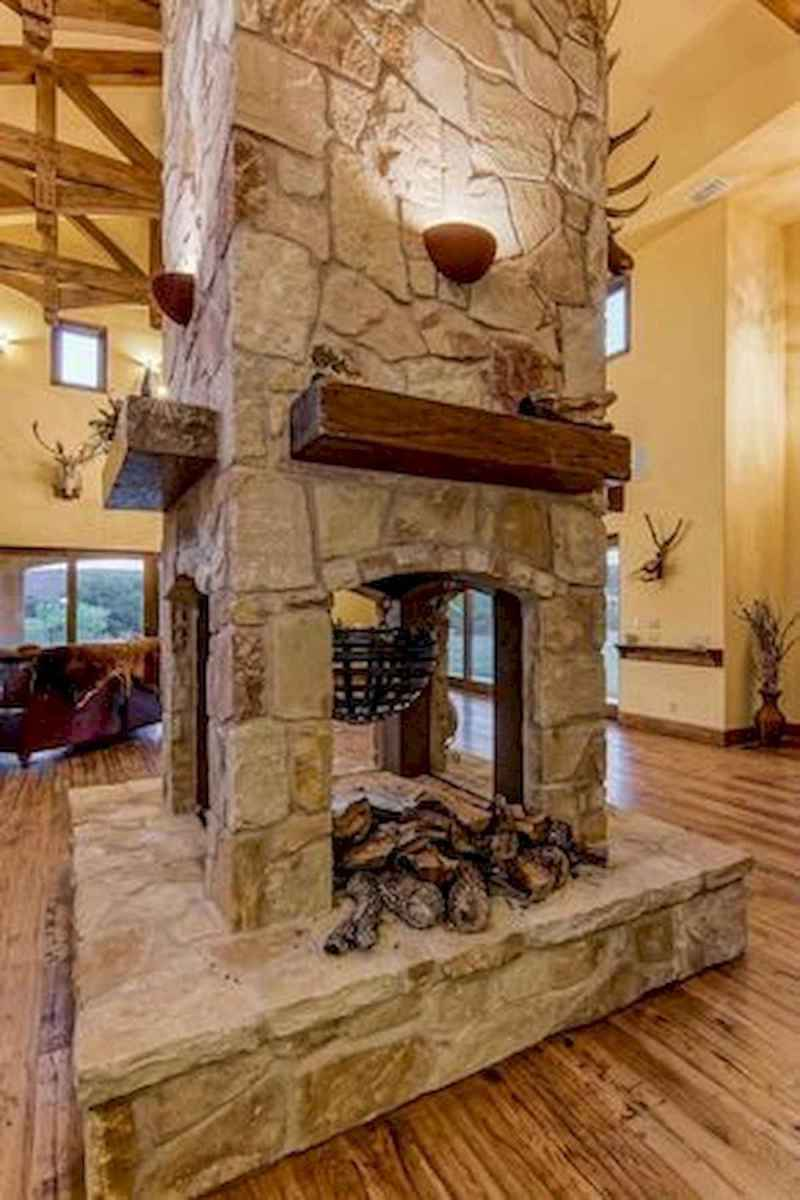 60 Awesome Log Cabin Homes Fireplace Design Ideas (27)