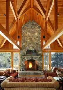 60 Awesome Log Cabin Homes Fireplace Design Ideas (31)