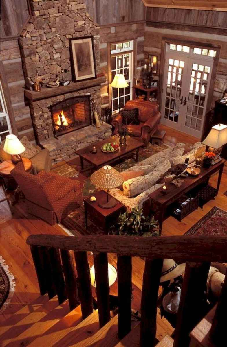 60 Awesome Log Cabin Homes Fireplace Design Ideas (36)