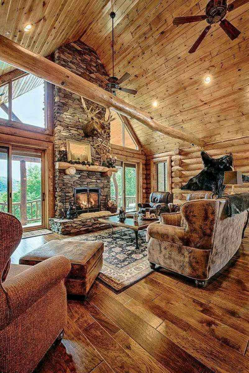 60 Awesome Log Cabin Homes Fireplace Design Ideas (43)