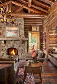60 Awesome Log Cabin Homes Fireplace Design Ideas (45)