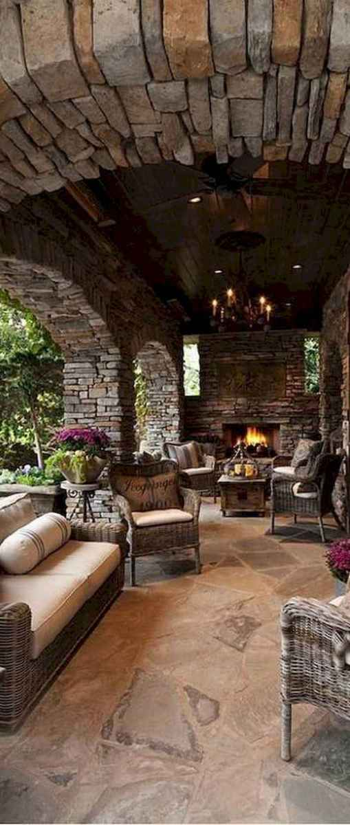 60 Awesome Log Cabin Homes Fireplace Design Ideas (49)