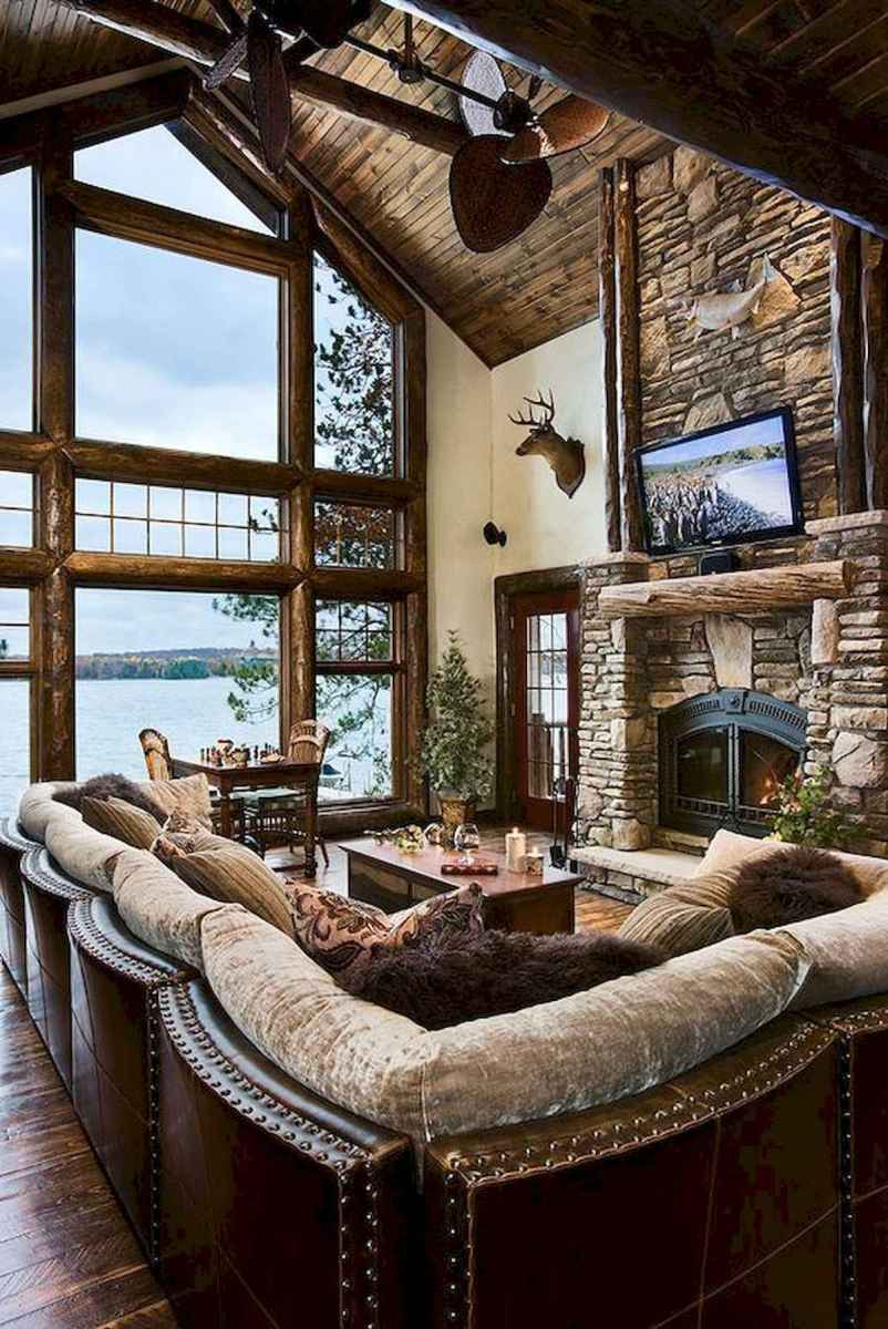 60 Awesome Log Cabin Homes Fireplace Design Ideas (53)