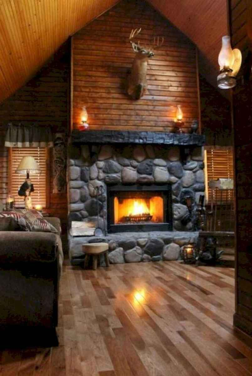 60 Awesome Log Cabin Homes Fireplace Design Ideas (58)