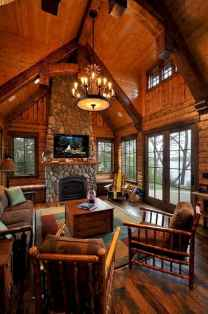 60 Awesome Log Cabin Homes Fireplace Design Ideas (59)