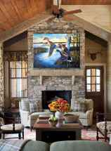 60 Awesome Log Cabin Homes Fireplace Design Ideas (60)
