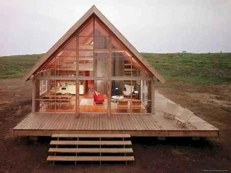 70 Suprising Small Log Cabin Homes Design Ideas (29)