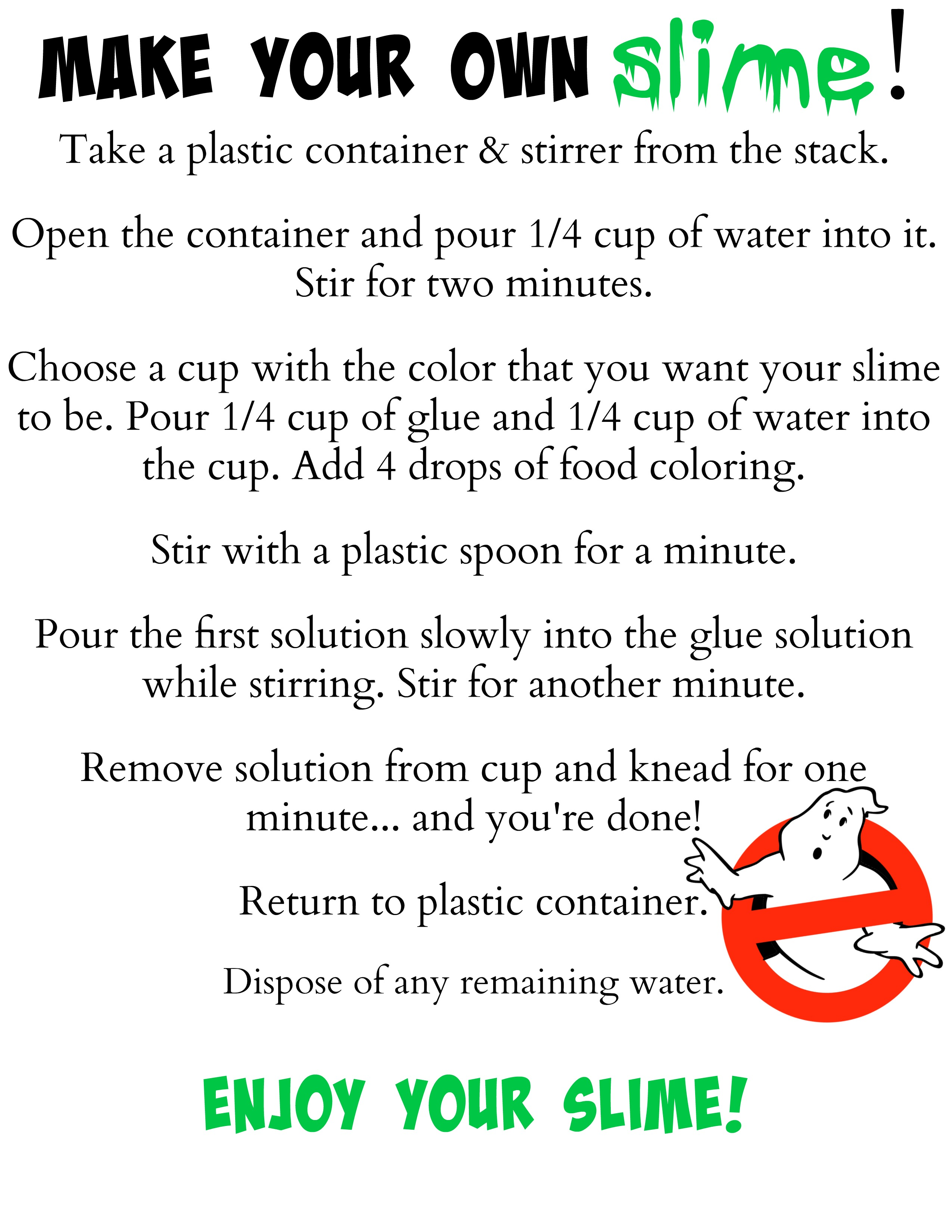 Make Your Own Slime Instructions Printable For
