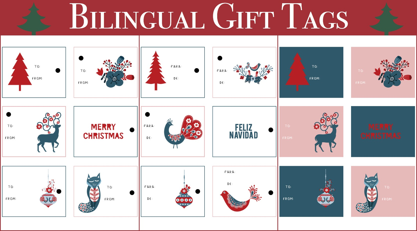 Free Bilingual T Tags Printables