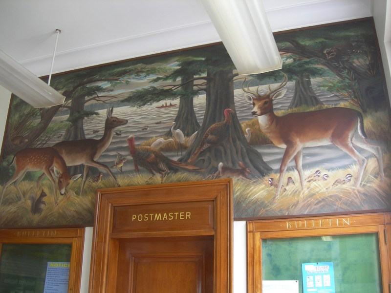 Post Office Mural   Lake Village AR   Living New Deal  Lake Country Wild Life