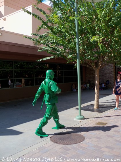 These full sized green army men would follow you, pose with you, and I even saw one run off with a lady's phone and start taking selfies with it.