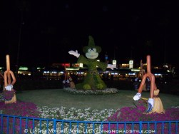 Sorcerer Mickey and his enchanted brooms out front of Hollywood Studios.