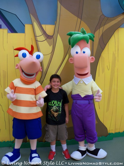 Trevor with two of his favorite characters, Phineas and Ferb.