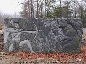 Native American and Bear Carving