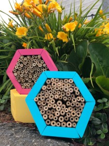Mason bee houses made by the Non-GMO Project